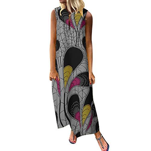 Sunhusing Summer Women's Stylish Round Neck Sleeveless Bohemian Ethnic Style Large Size Print Loose Dress Gray