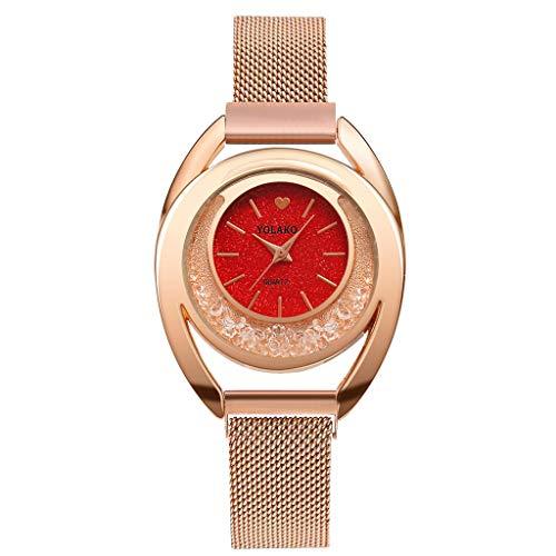 (Qvwanle Fashion Flow Beads Mosaic Diamond Quartz Mesh Belt Magnetic Buckle Ladies Watch for Gift (B))