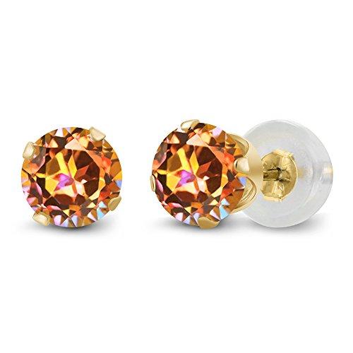 - 1.20 Ct 5.00MM Round Ecstasy Mystic Topaz 14K Yellow Gold Stud Women's Earrings