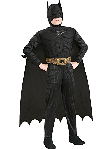 Black Batman Costumes Child (Batman Dark Knight Rises Child's Deluxe Muscle Chest Batman Costume with Mask, Small)
