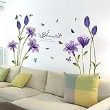 Oren Empower Beautiful Purple Lily Flower Art Wall Sticker (160 cm x 85 cm, Purple)
