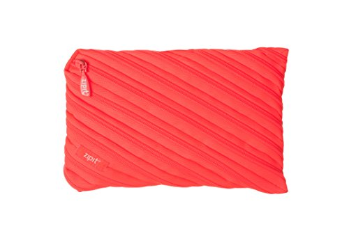 ZIPIT Neon Jumbo Pencil Case, Glowing Peach