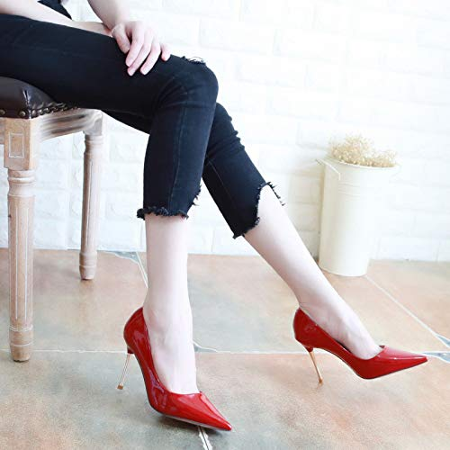 Gules Thirty Leather Thin Mouth Shoes Red Pointed Single Heels Thin Shoes Shallow Women'S Heeled High Lacquer Sexy Autumn Seven KPHY Shoes 9Cm Show BCRq86xww