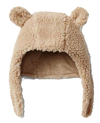 Baby Gap Boys Girls Cozy Beige Bear Ear Trapper Hat 0-3 Months (Baby Gap Bear)