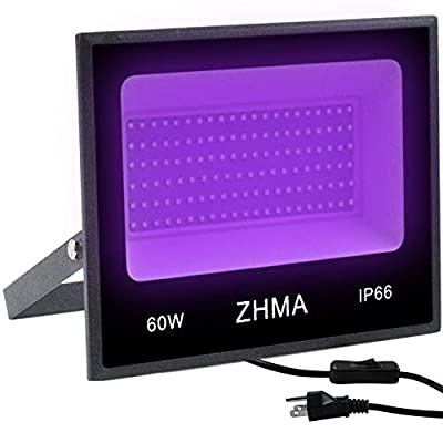 ZHMA 60W UV LED Black Light Flood Light with Plug,for Indoor and Outdoor Blacklight Party,Body Paint Fluorescent Effect,Neon Glow,Stage UV Lamp,Aquariums and Other Entertainment Venue