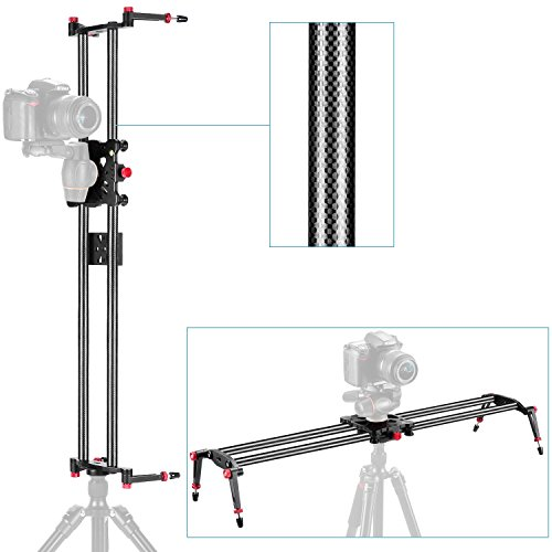 "Neewer 47.2""/1.2m Carbon Fiber Camera Track Dolly Slider Rail System with 17.5lbs/8kg Load Capacity for Stabilizing Movie Film Video Making Photography DSLR Camera Nikon Canon Pentax Sony"