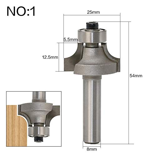 Length 2 Flute Chamfer Router - 1 piece 3pcs/set 8mm Shank 2 Flute Endmill With Bearing Corner Round Over Router Bits Tungsten Carbide Woodworking Cutting Tools