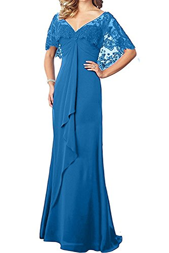 7b983c89c6e liangjinsmkj Women s Lace Chiffon Long Prom Evening Dress Mother of The Bride  Dresses Wedding Gowns Blue US24W