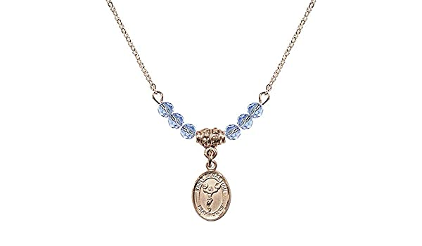 18-Inch Rhodium Plated Necklace with 6mm Crystal Birthstone Beads and Sterling Silver Saint Cecilia Charm.