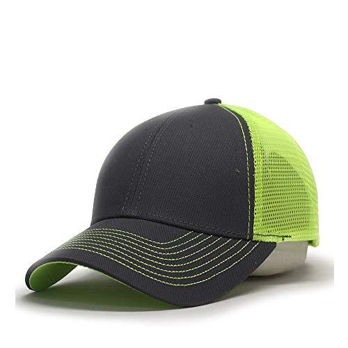 Vintage Year Plain Two Tone Cotton Twill Mesh Adjustable Trucker Baseball Cap (Charcoal Gray/Neon Yellow)]()