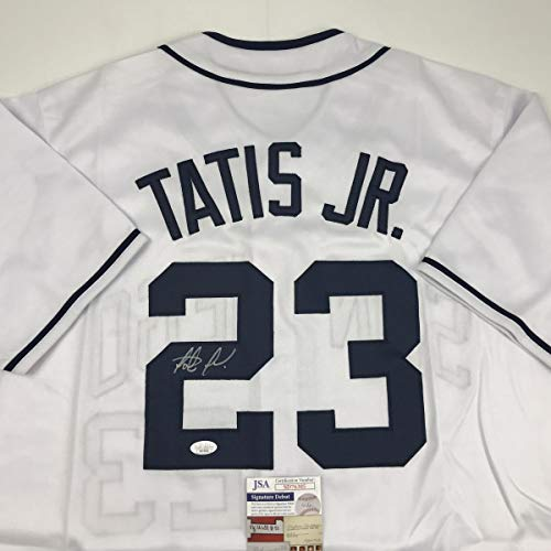 Autographed/Signed Fernando Tatis Jr. San Diego White Baseball Jersey JSA COA