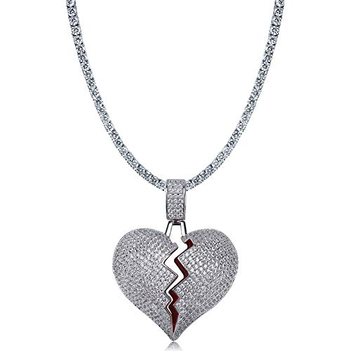 TOPGRILLZ Iced Out Lab Premium Simulated Diamond Bling Bubble Brokenheart Pendant Necklace Chain for Men Women Fashion Jewelry Gifts (Silver CZ Link ()