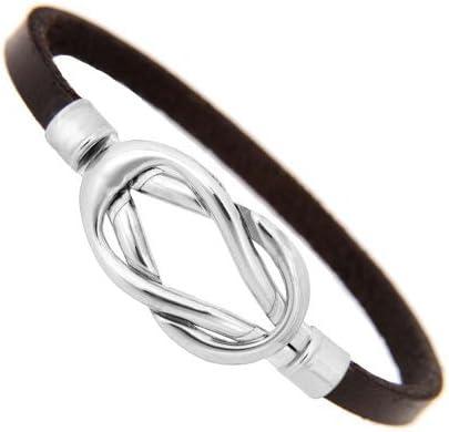 Estilo de cuero Negro joyería de acero inoxidable pulsera para hombres y mujeres (18 cm): Amazon.es: Joyería