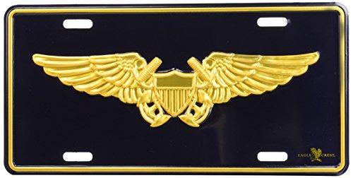 Flight Officer Wings (Metal Car License Plate - US Navy Military Naval Flight Officer Wings Crest)