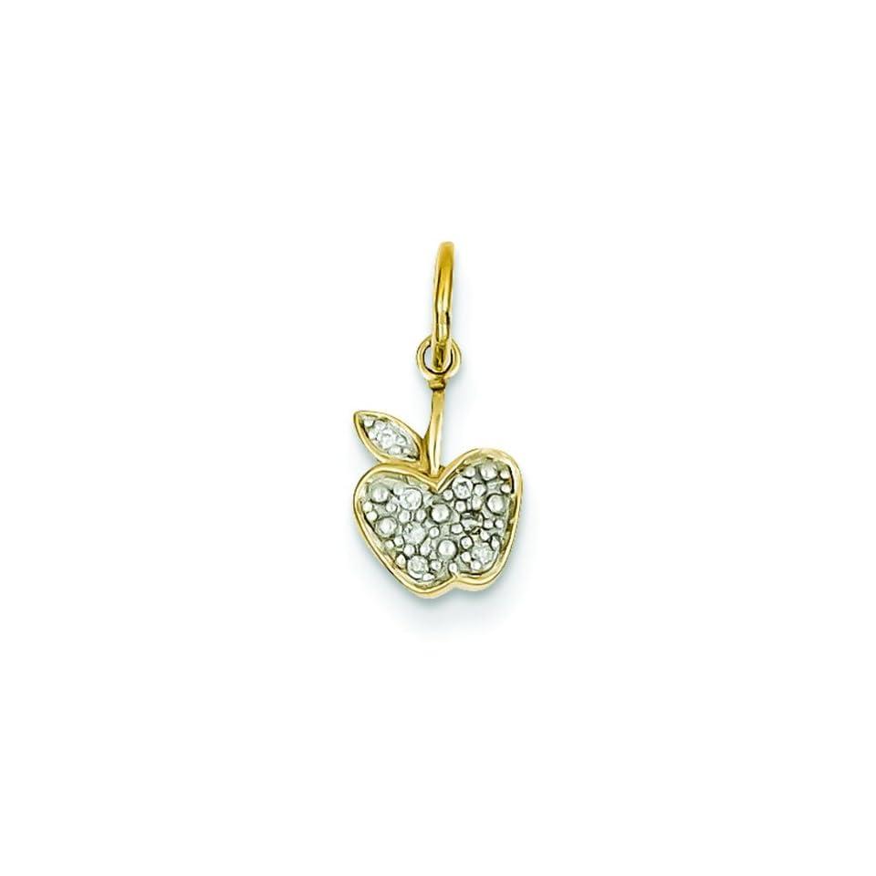 14K Yellow Gold Diamond Apple Charm Pendant Jewelry