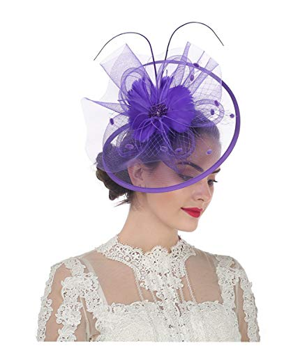 Lucky Leaf Women Girl Fascinators Hair Clip Hairpin Hat Feather Cocktail Wedding Tea Party Hat (8-Purple)