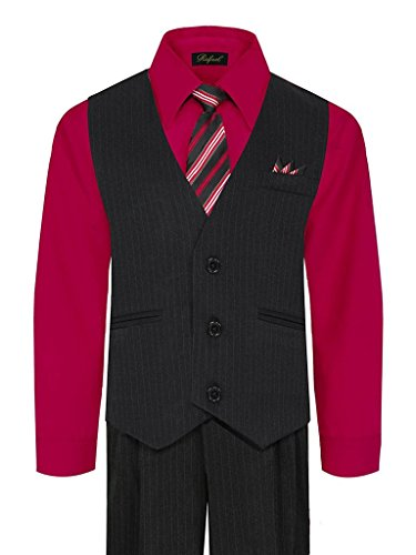- iGirlDress Baby Boys' and Special Occasion Pinstripe Vest Set Black/Red 3-6Mos