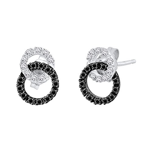 Black and White Diamond Interlocking Circle Earrings in 14K White Gold (1/4 cttw) (Color GH, Clarity I2-I3) (Circle Earrings Gold White Diamond)