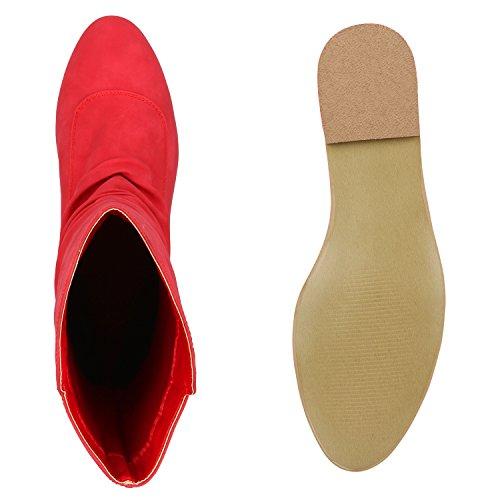 Damen Schlupfstiefel Leder-Optik Stiefeletten Flache Stiefel Boots Blockabsatz Schuhe Basic Design Damenschuhe Flandell Rot