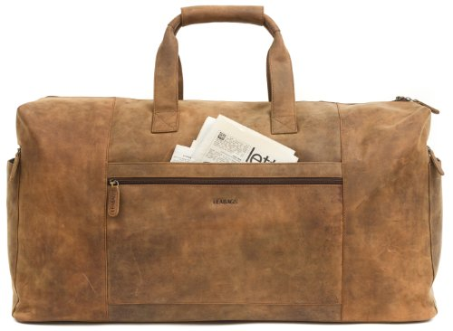 Leabags Sydney Travel Bag Genuine Buffalo Leather In Vintage Style - Brown Brown