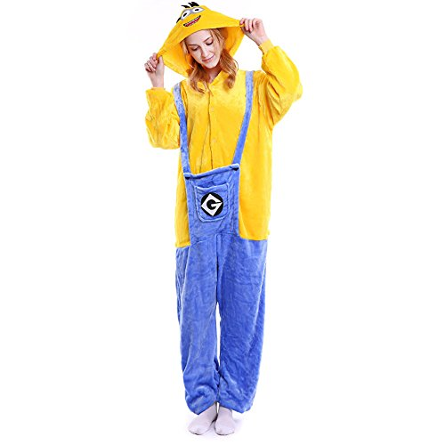 FLEAP Onesie Pajamas Animal Sleepwear Kigurumi Cosplay Cartoon Nightwear (Minion Couples Costume)
