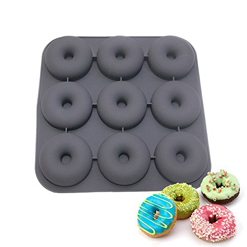 New Arrival 9-Cavity Donut Pan Muffin Cups Silicone Mould Cake Cupcake Liners Doughnut Baking Mold (Color: Sent by random)