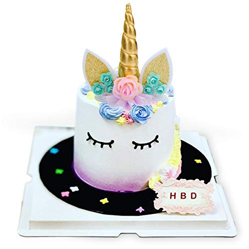 (Unicorn Cake Topper,COONOE Handmade Party Cake Decoration Supplies with Eyelashes,Reuasble Gold Horn for Birthday Party,Baby Shower&Wedding)
