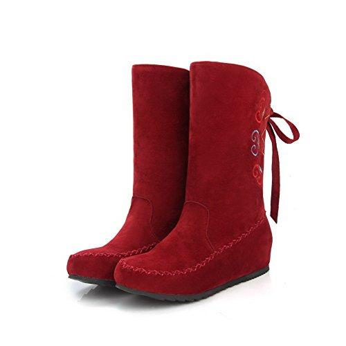 AgooLar Damen Bestickt Mattglasbirne Niedriger Absatz Ziehen auf Rund Zehe Stiefel, Rot, 36