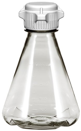 Plastic Erlenmeyer Flasks for Cell Culture and Fermentation, 1L, Autoclavable Polycarbonate (PC), 53mm (53B) VersaCap, Non-Sterile, Baffled Bottom (Pack of 6) ()