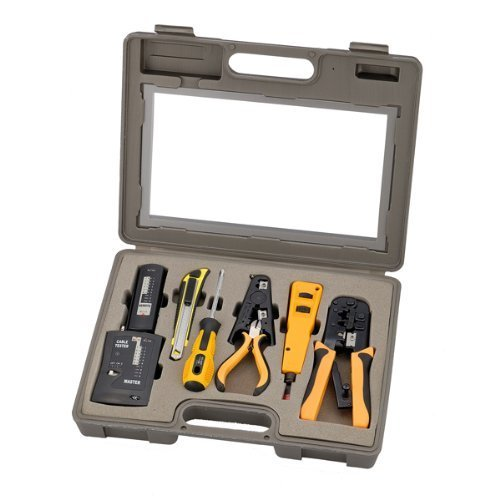 InstallerParts 10 Piece Network Installation Tool Kit - Includes LAN Data Tester, RJ45 RJ11 Crimper, 66 110 Punch Down, Stripper, Utility Knife, 2 in 1 Screwdriver, and Hard ()