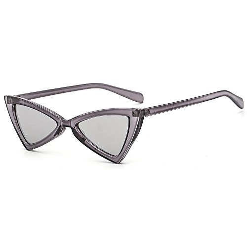 Small Cat Eye Sunglasses for Women Men Vintage Sun Glasses Trendy Fashion Shades Gray Frame Silver Mirror