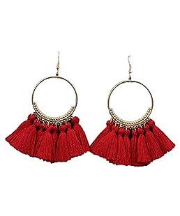 Peng Sheng New Fashion Bohemia nappa cerchio lungo ciondolo orecchini gancio e Argento, colore: 4, cod. PS0802003