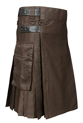 Scottish Brown Utility Kilt For Men (Belly Button Size 40)