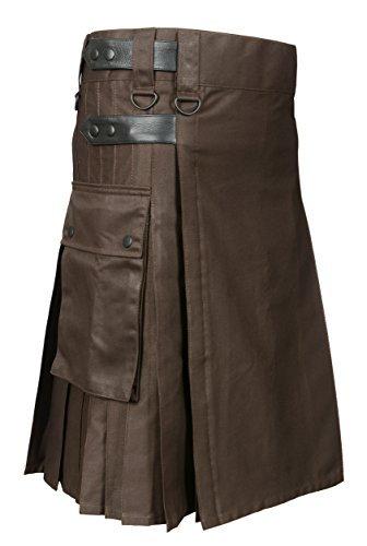 Scottish Brown Utility Kilt For Men (Belly Button Size 30) by Scottish Designer