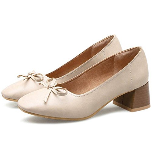 SJJH Slip-on Casual Shoes with Chunky Heel and Square Heel for Fashion Women Apricot CHS0jjwE