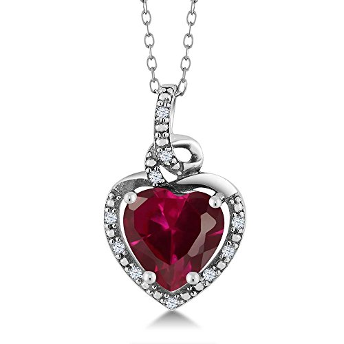 Sterling Silver Ruby Pendant - 925 Sterling Silver Red Created Ruby Pendant Necklace 2.31 Ctw Heart Shape with 18 Inch Chain