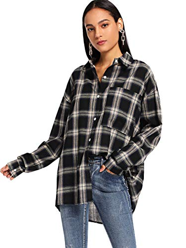 SweatyRocks Women's Long Sleeve Collar Plaid Long Button Down Shirt Blouse Tops Black Medium