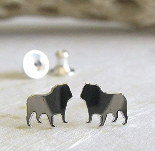 English Bulldog stud earrings. Polished sterling silver tiny dog post jewelry. Handmade in the USA.