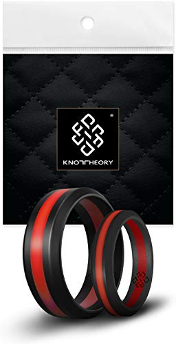 Scott Mens Bands - Knot Theory Striped Silicone Rings for Men Women - Black Deep Red Line 8mm Size 11 - Non-Bulky Sleek Design - Wedding Anniversary Husband Wife Fiance Gift - Honeymoon Travel Gym Workout Safe Band