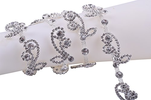 KAOYOO 1 Yard Flower Shaped Full Diamond Crystal Rhinestone Chain in Silver Brass Base for Clothing and Bridal Bouquet Embellishments
