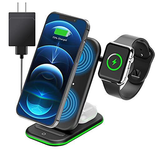 Wireless Charger 3 in 1, Kodagia Wireless Charging Station, Qi Certified Fast Charging Station Compatible with Apple iWatch Series, AirPods, iPhone 12/12 Pro/12 Pro Max/11pro/11proMax, Include Adapter