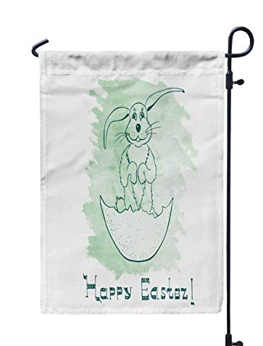 (HerysTa Spring Garden Flag, Decorative Yard Farmhouse Holiday Banner 12 x 18 inches Funny Handdrawn Easter Bunny Standing The Legs in Eggshell Attitude Drawn Made Double-Sided Seasonal Garden)
