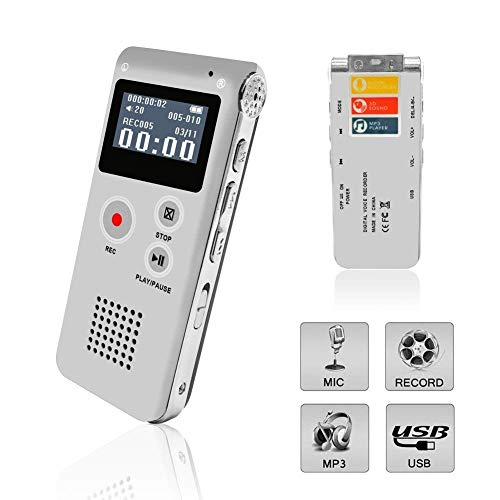 Voice Recorder, Digital Voice Recorder, Voice Activated Recorder with Playback, Rechargeable Tape Dictaphone Recorder for Lectures, Meetings, Interviews, Mini Audio Recorder, MP3 Player