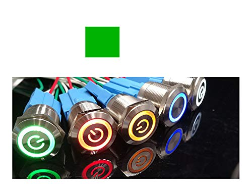 KNACRO 50PCs 22mm Chassis Switch DC 3-6V Green LED Ring with Switch Symbol for DIY Computer Switch and Restart Button (Switch Symbol)