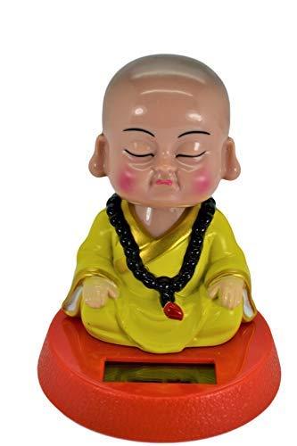 Solar Powered Cute Little Buddha Bobble Head Figure Car Dashboard Accessories Office Home Ultra Detail Doll (Yellow) (Buddha Doll)