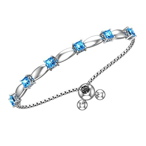 Belinda Jewelz Womens 925 Sterling Silver Sparkling Square Bolo Gemstone Adjustable Tennis Style Pull String Birthstone Jewelry Fine Bracelet, 2.5 Carat Swiss Blue Topaz, 11 Inch Box Chain