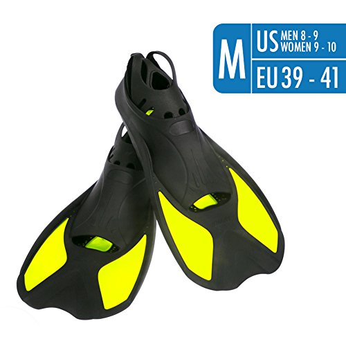 Travel Fins Short Floating Training Swimming Fins Adults US Size Men 8-9 Women 9-10 with Thermoplastic Rubber Flippers Fins for Swimming Scuba Diving Snorkeling Watersports – - Fin Swim Size Chart