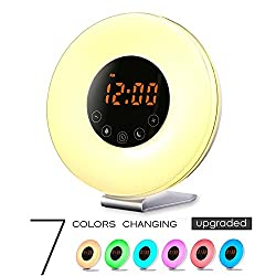 Sunrise Wake Up Light Digital Alarm Clock - Sunrise & Sunset Simulation with FM Radio, 7 Colors, 6 Natural Sounds and Touch Control for bedrooms (White)