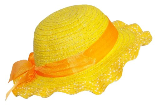 Tropic Hats Kid/Child Pastel Wide Brim Sun Hat with Sheer Ribbon Bow (One Size) - Yellow
