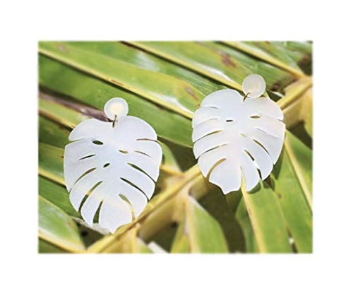 Shop Detó Monstera Deliciosa Tropical Leaf Original Accent Earrings Bohemian Fashion (Frosted ()